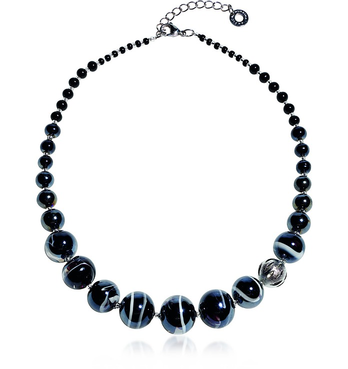 Optical 2 - Black Murano Glass Choker - Antica Murrina
