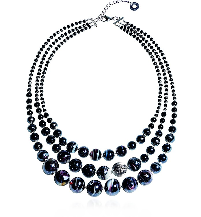 Optical 1 Top - Black Murano Glass Choker - Antica Murrina