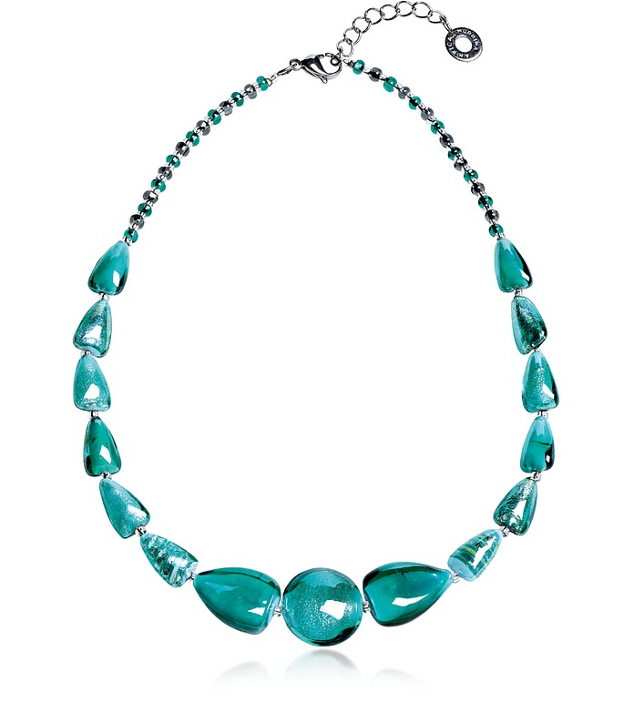 Marina 2 Basic - Turquoise Green Murano Glass and Silver Leaf Choker - Antica Murrina