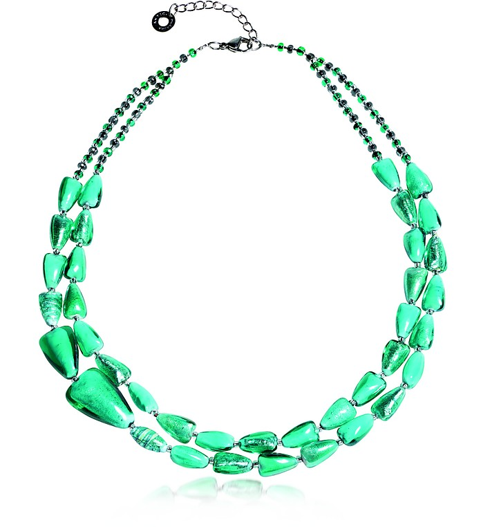 Marina 1 Double - Turquoise Green Murano Glass and Silver Leaf Necklace - Antica Murrina