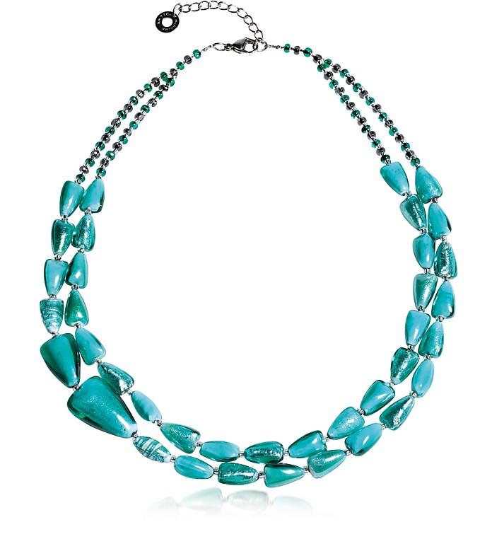 Marina 1 Double - Halskette aus Muranoglas in türkisgrün und Silber - Antica Murrina Veneziana