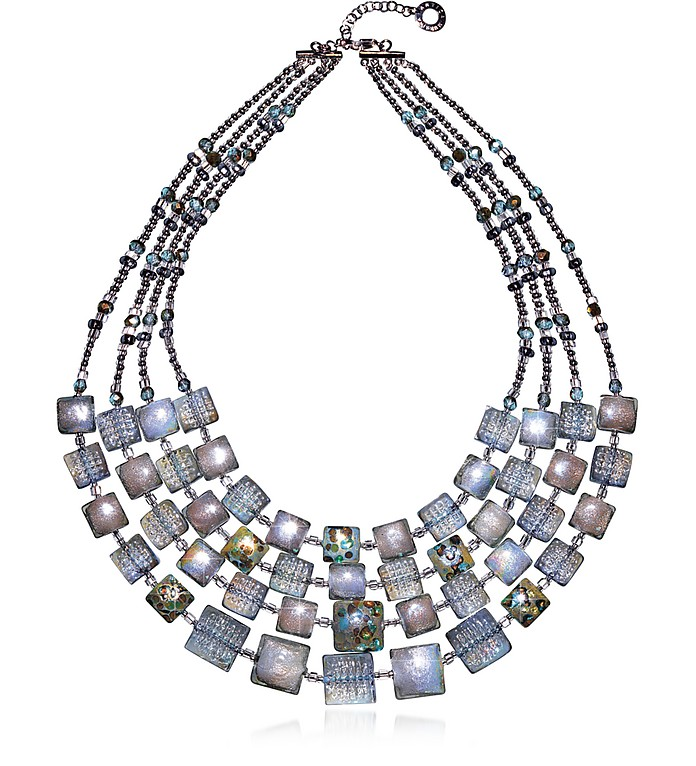 Atelier Byzantium - Grey Murano Glass & Silver Leaf Choker - Antica Murrina