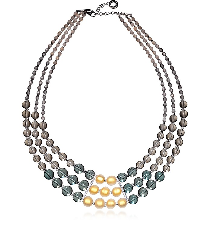 Atelier Nuance - Grey & Amber Murano Glass Choker - Antica Murrina