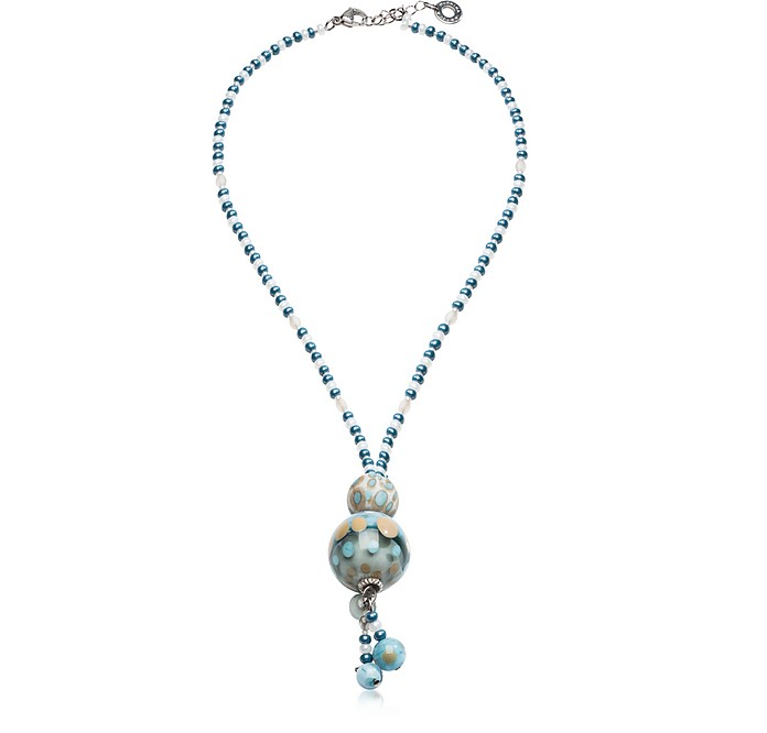 Papaya 3 Light Blue Pendant Necklace w/Pastel Murano Glass Beads - Antica Murrina