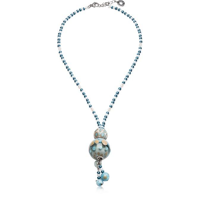 Papaya 3 Halskette mit Anhänger in hellblau mit Muranoglasperlen - Antica Murrina Veneziana