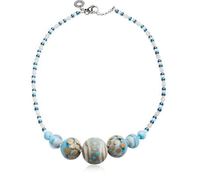 Papaya 2 Light Blue Pastel Murano Glass Choker - Antica Murrina