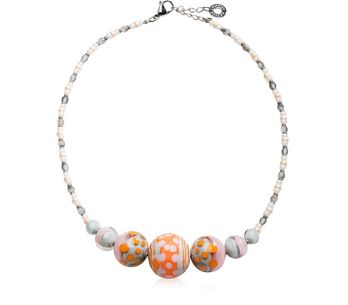Papaya 2 Orange Pastel Murano Glass Choker - Antica Murrina