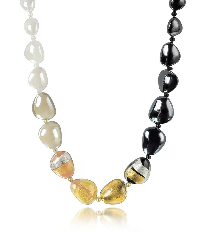 Moretta Pastel Glass Beads w/24kt Gold Leaf Necklace - Antica Murrina