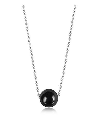 Perleadi Black Murano Glass Bead Chain Necklace - Antica Murrina