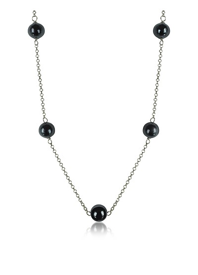 Perleadi Black Murano Glass Beads Necklace - Antica Murrina