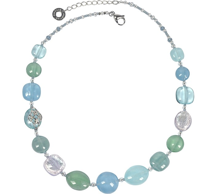 Florinda Light Blue and Green Murano Glass Beads Necklace - Antica Murrina