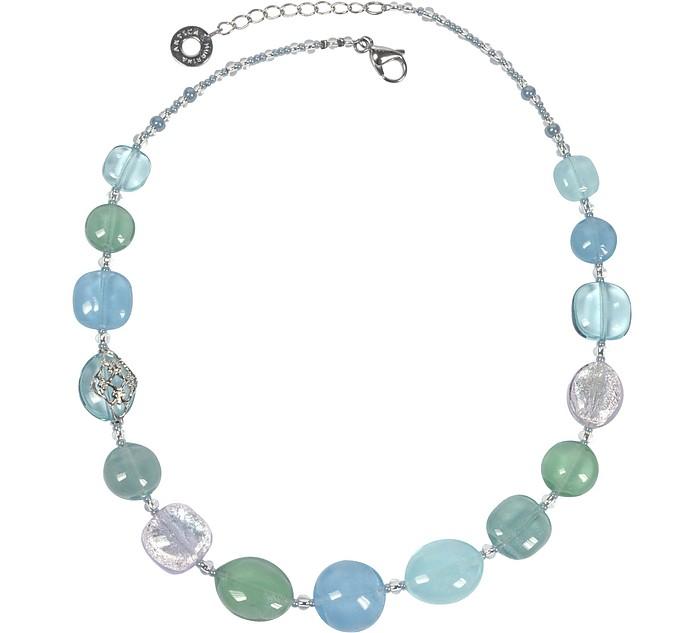 Florinda Collar con Abaloris Azules y Verdes de Cristal de Murano - Antica Murrina
