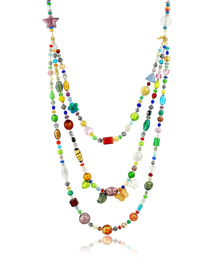 Brio - Triple-Strand Multicolor Murano Glass Bead Necklace - Antica Murrina