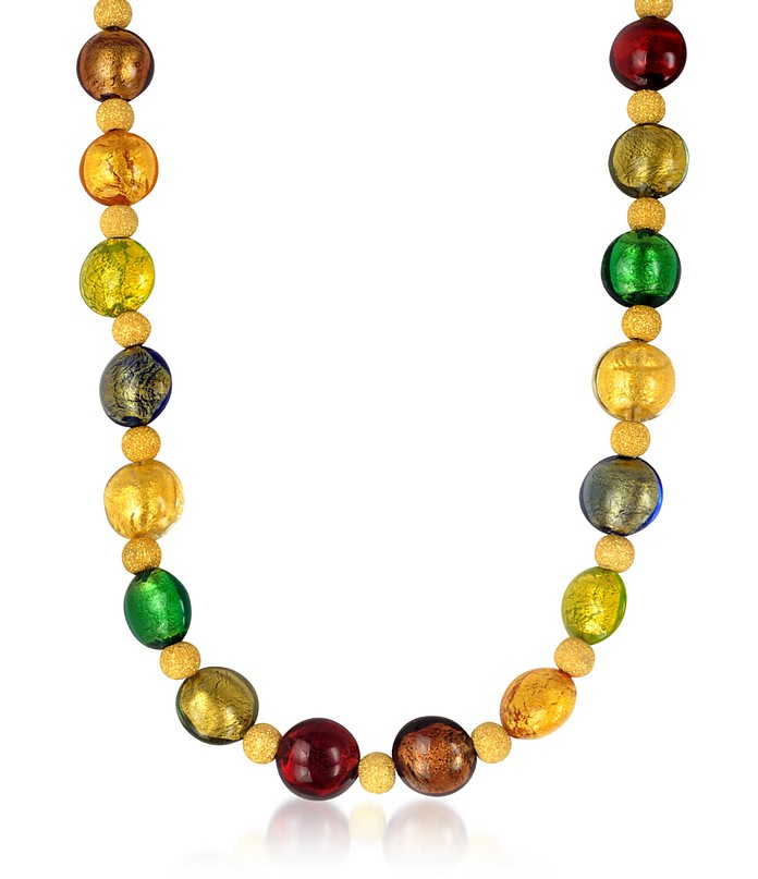 Manuela - Multi-Color Murano Glass and Sterling Silver Necklace - Antica Murrina