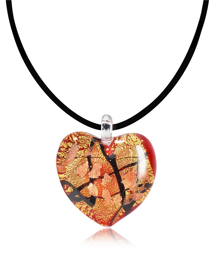 Passione - Red, Gold and Black Murano Glass Heart Pendant - Antica Murrina