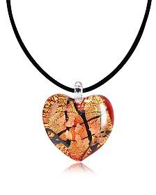 Passione - Herzanhänger aus Muranoglas in Rot/Gold/Schwarz - Antica Murrina Veneziana