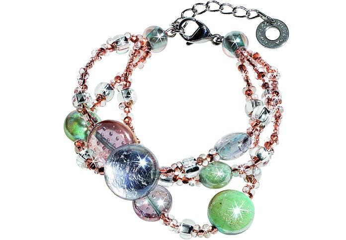 Redentore 1  Armband in pink und grün aus Muranoglas & silbernen Blättern - Antica Murrina Veneziana
