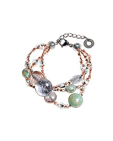 Redentore 1 - Pink and Green Murano Glass Drops & Silver Leaf Bracelet - Antica Murrina