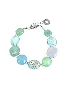 Florinda Top T Light Blue and Green Murano Glass Beads Bracelet - Antica Murrina