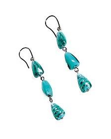 Marina 1 - Turquoise Green Murano Glass and Silver Leaf Dangling Earrings - Antica Murrina