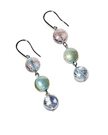 Redentore 1 - Pastel Pink and Green Murano Glass & Silver Leaf Dangling Earrings - Antica Murrina
