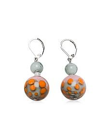 Papaya 1 Orange and Multicolor Murano Glass Earrings - Antica Murrina