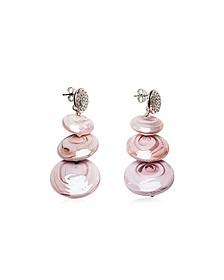 Monete 1 Pastel & Transparent Light Pink Murano Glass Earrings - Antica Murrina