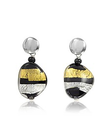 Moretta Pastel Glass Beads w/24kt Gold and Silver Leaf Earrings - Antica Murrina