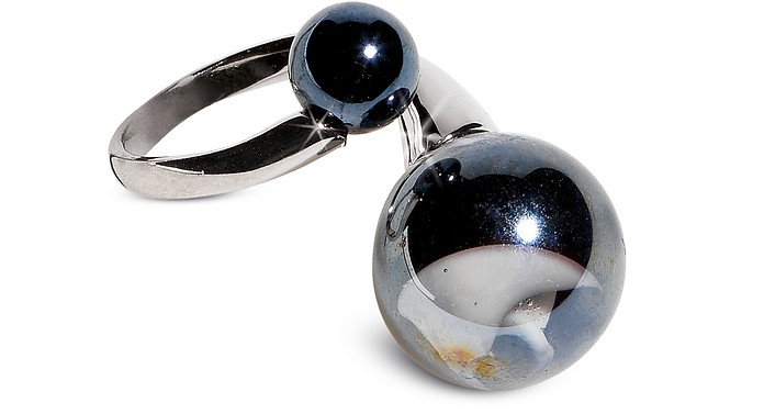 Optical - Silver Stainless Steel Ring w/Black Murano Glass Beads - Antica Murrina