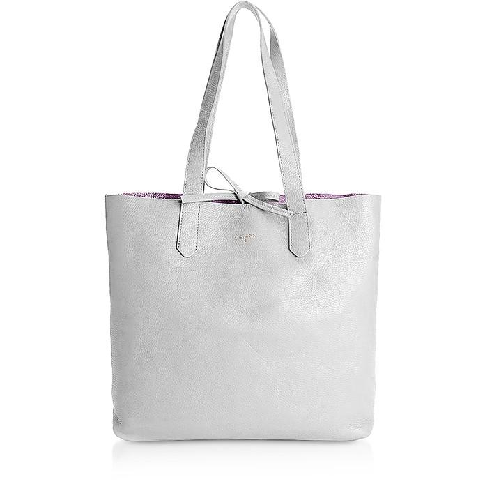 Gray & Shiny Rose Leather Tote Bag - Patrizia Pepe