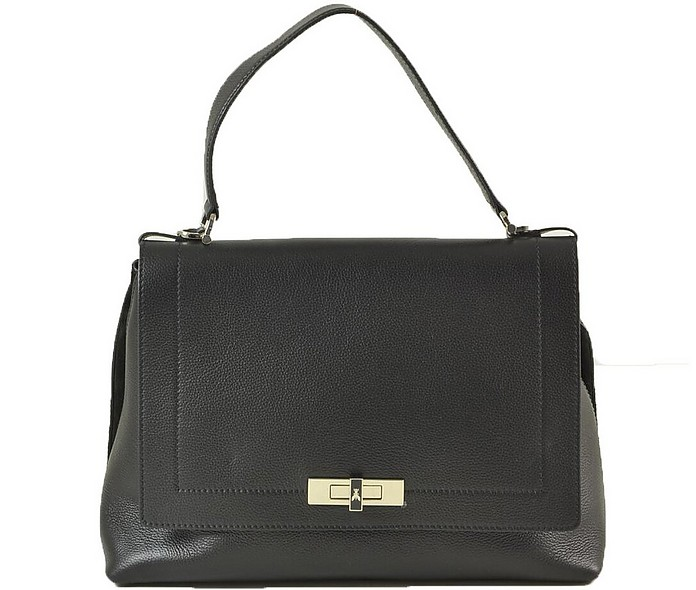 Black Grainy Embossed Leather Top-Handle Satchel - Patrizia Pepe
