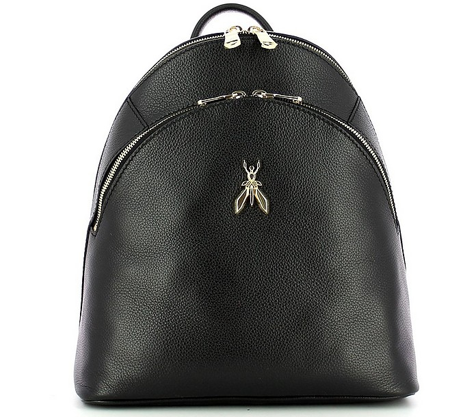 Black Grainy Leather Double Compartment Backpack - Patrizia Pepe