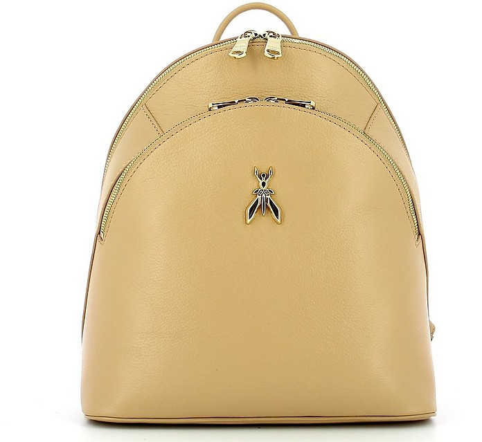 Beige Leather Double Compartment Backpack - Patrizia Pepe