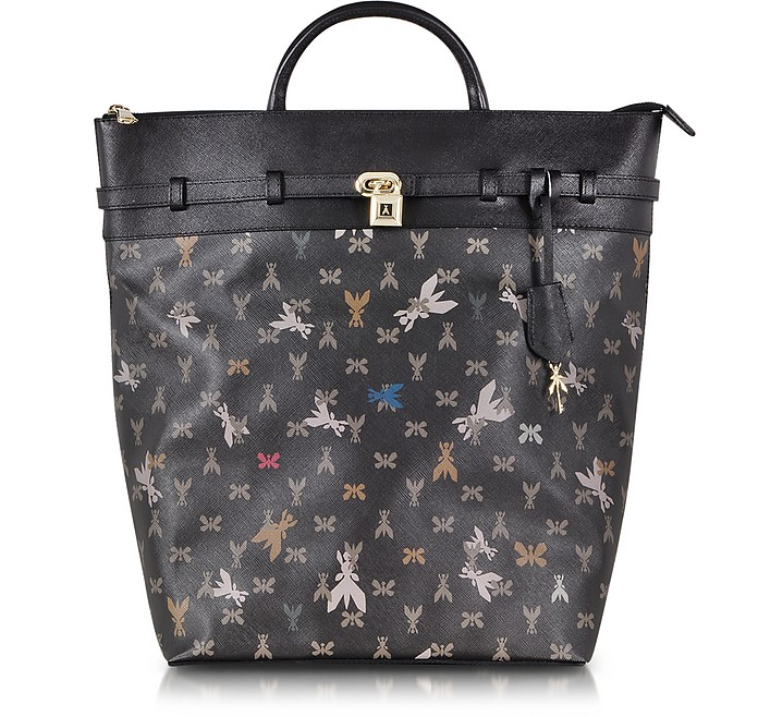Black Monogram Eco Saffiano Leather Backpack  - Patrizia Pepe