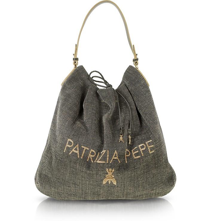 top fashion 2a4f4 e2a8c Patrizia Pepe Large Canvas Signture Shopping Bag