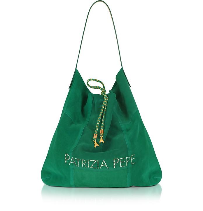 buy online 54a54 c9c3e Patrizia Pepe Green Suede Signature Bucket Bag