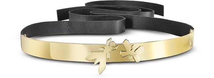 sale retailer 069cd 22984 Cintura in pelle Nera e Oro con Farfalle