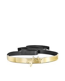 Butterfly Gold Tone Metal with Black Leather Belt