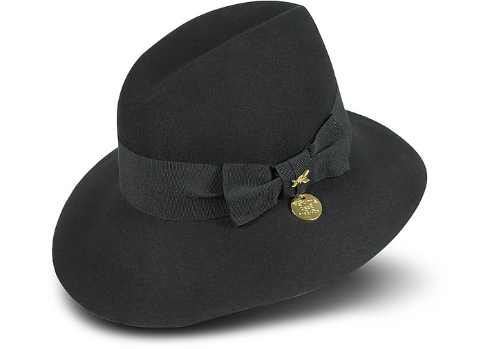 aeb8944b9a0 Patrizia Pepe Women's Wool Hat with Grosgrain Bow S (21 in | 53 cm ...