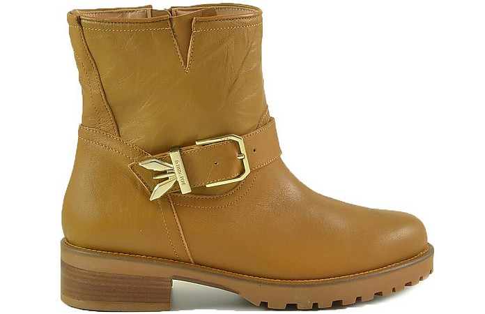 Brown Leather Ankle Biker Boots - Patrizia Pepe