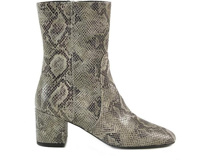 Snake Print Leather Booties - Patrizia Pepe