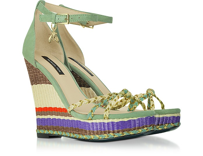 Suede Sandals With Striped Wedge - Patrizia Pepe