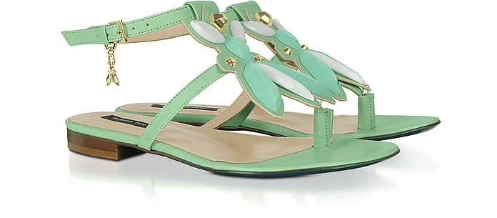 Green Flat Leather Thong Sandals - Patrizia Pepe