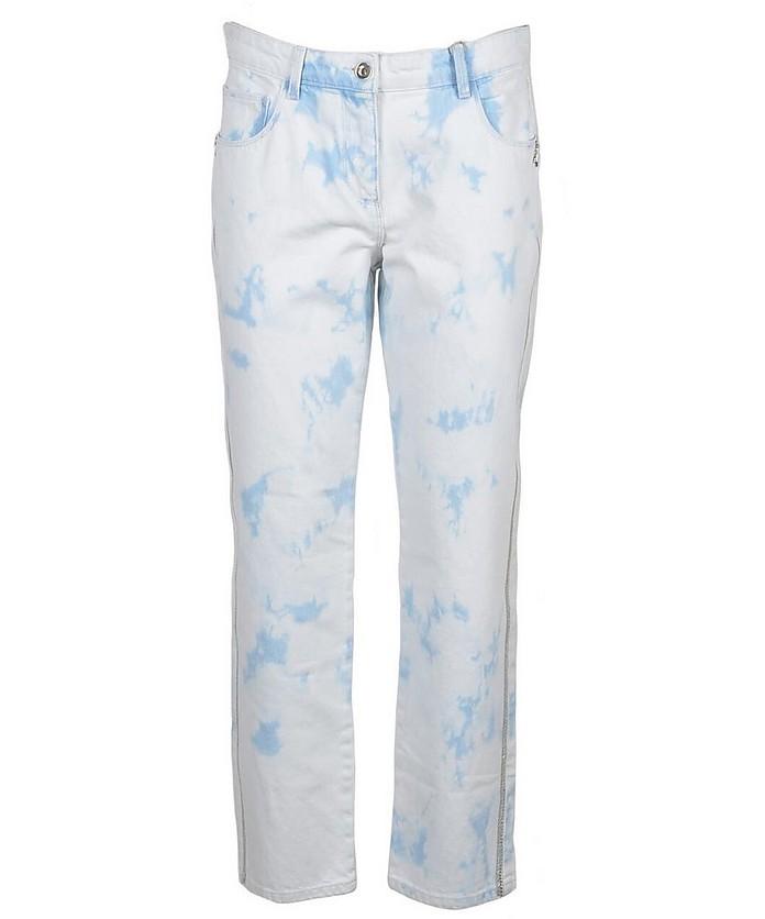 White / Light Blue tie & dye Denim CottonJeans - Patrizia Pepe