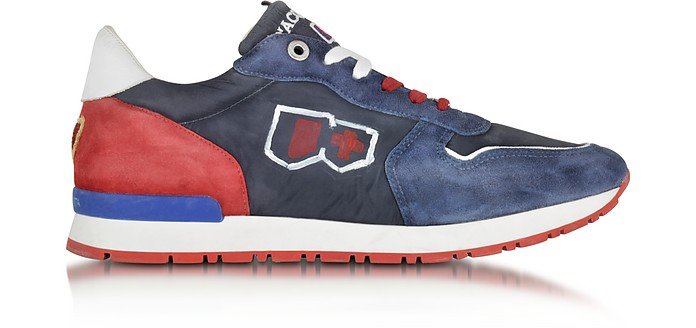 Botticelli Blue and Red Fabric and Suede Sneaker - D'Acquasparta