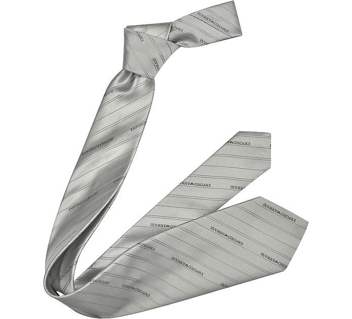 7c8c7e32ab1 Emporio Armani Gray Signature Pin Stripe Silk Tie at FORZIERI
