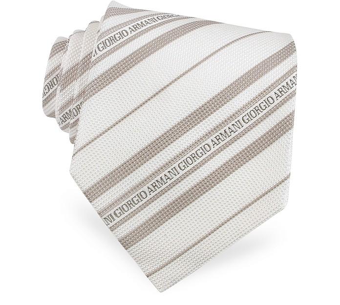 0f4ba1c3e6b Giorgio Armani Cream Signature Stripe Jacquard Silk Tie at FORZIERI