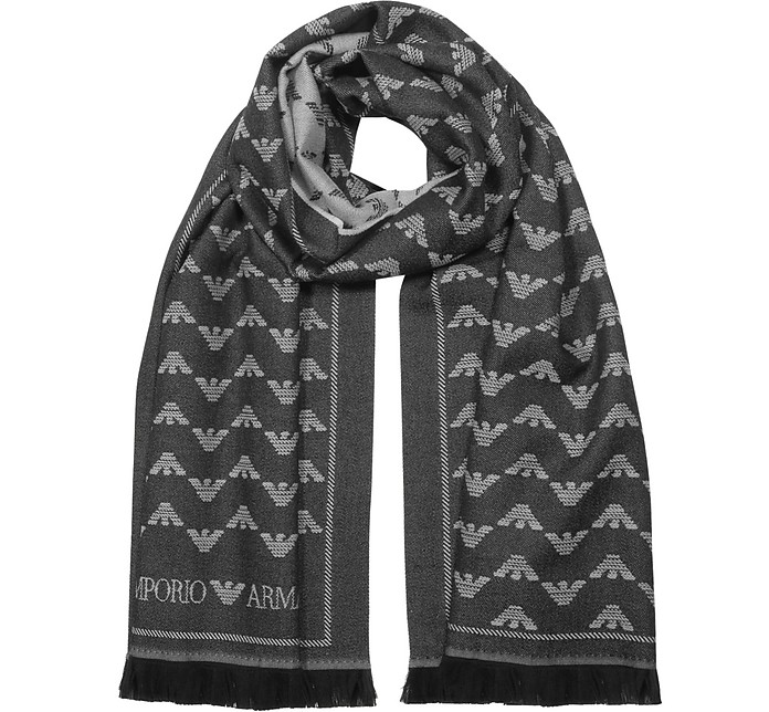 Wool Blend Signature Woven Scarf - Emporio Armani