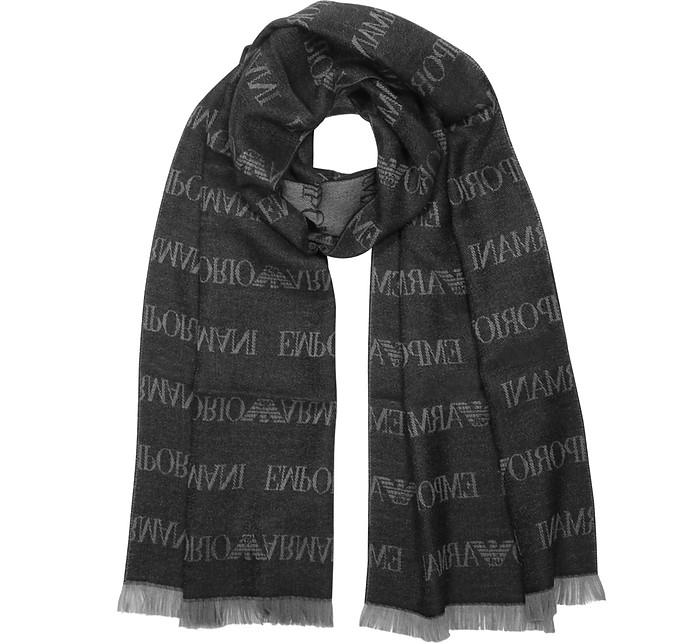 Pacific Wool Blend Signature Men's Scarf - Emporio Armani