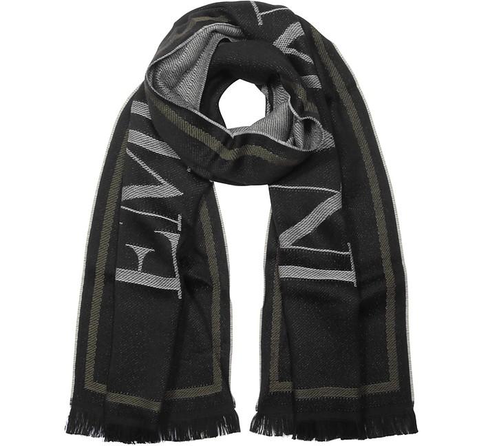 Black Woven Signature Wool Blend Men's Scarf - Emporio Armani 安普里奥·阿玛尼